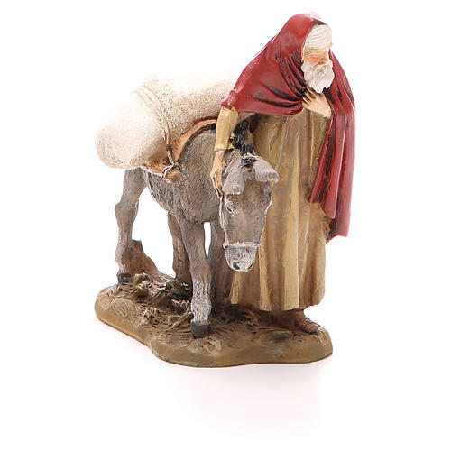 Nativity scene statue wayfarer with donkey in resin hand painted 12 cm Martino Landi brand 1