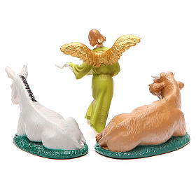 Donkey, ox and Angel of glory in painted PVC 10cm s2