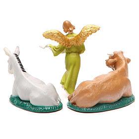 Boeuf et âne et Ange Gloria pvc coloré 10 cm s2