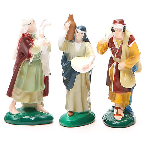 Group of 3 shepherds in painted PVC 10cm 1