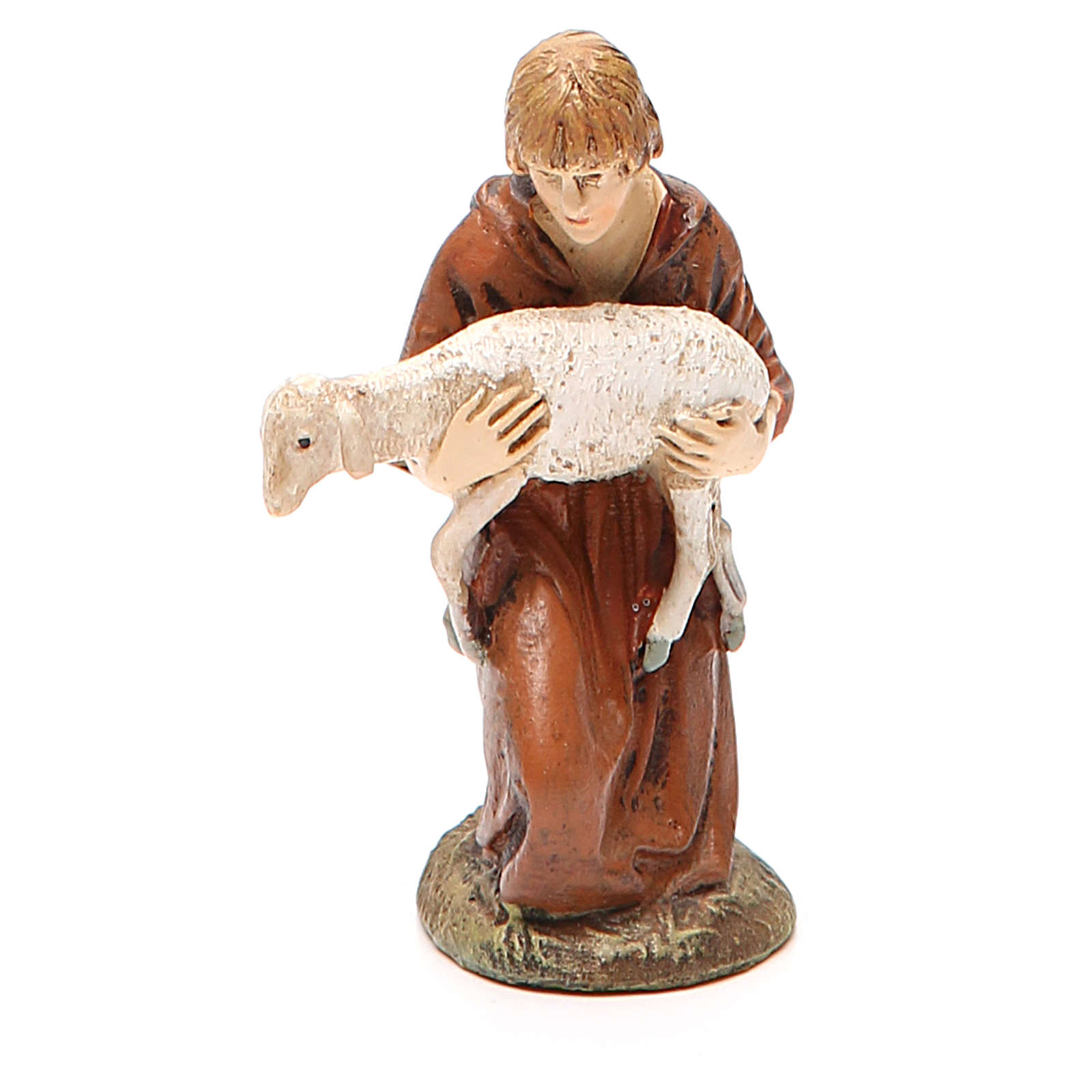 Kneeling shepherd with lamb in painted resin 10cm Landi Collection 3