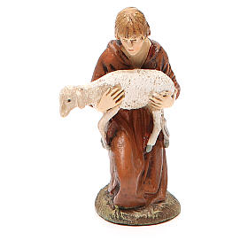 Nativity Scene figurines: Kneeling shepherd with lamb in painted resin 10cm Landi Collection
