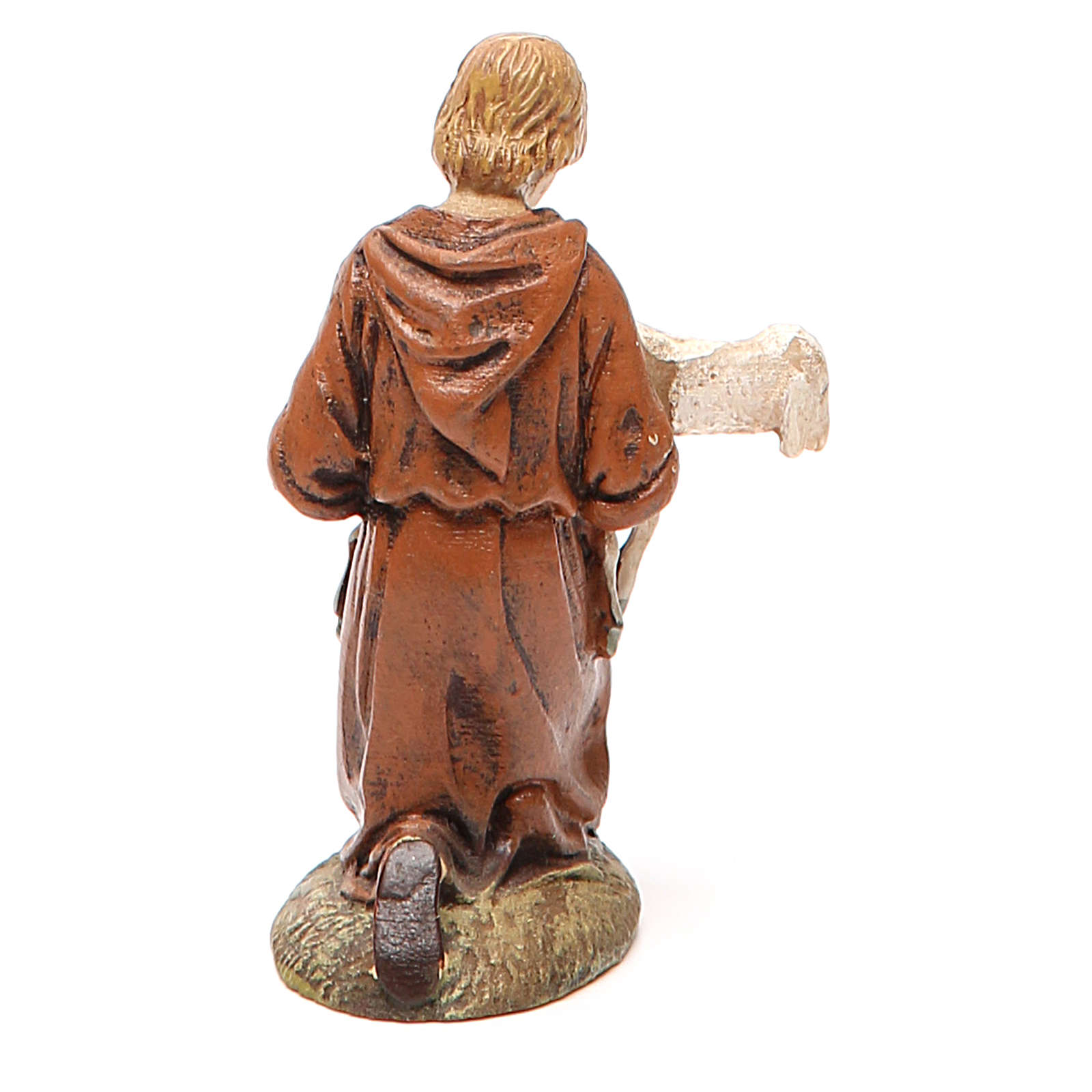 Berger à genoux avec agneau résine peinte pour crèche 10 cm gamme Landi 3