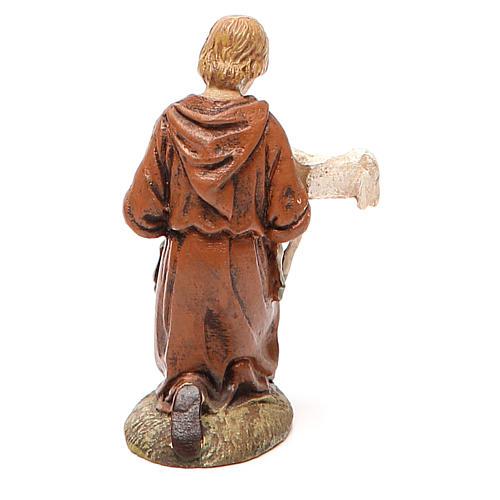 Pastore in ginocchio con agnello resina dipinta cm 10 Linea Landi 2