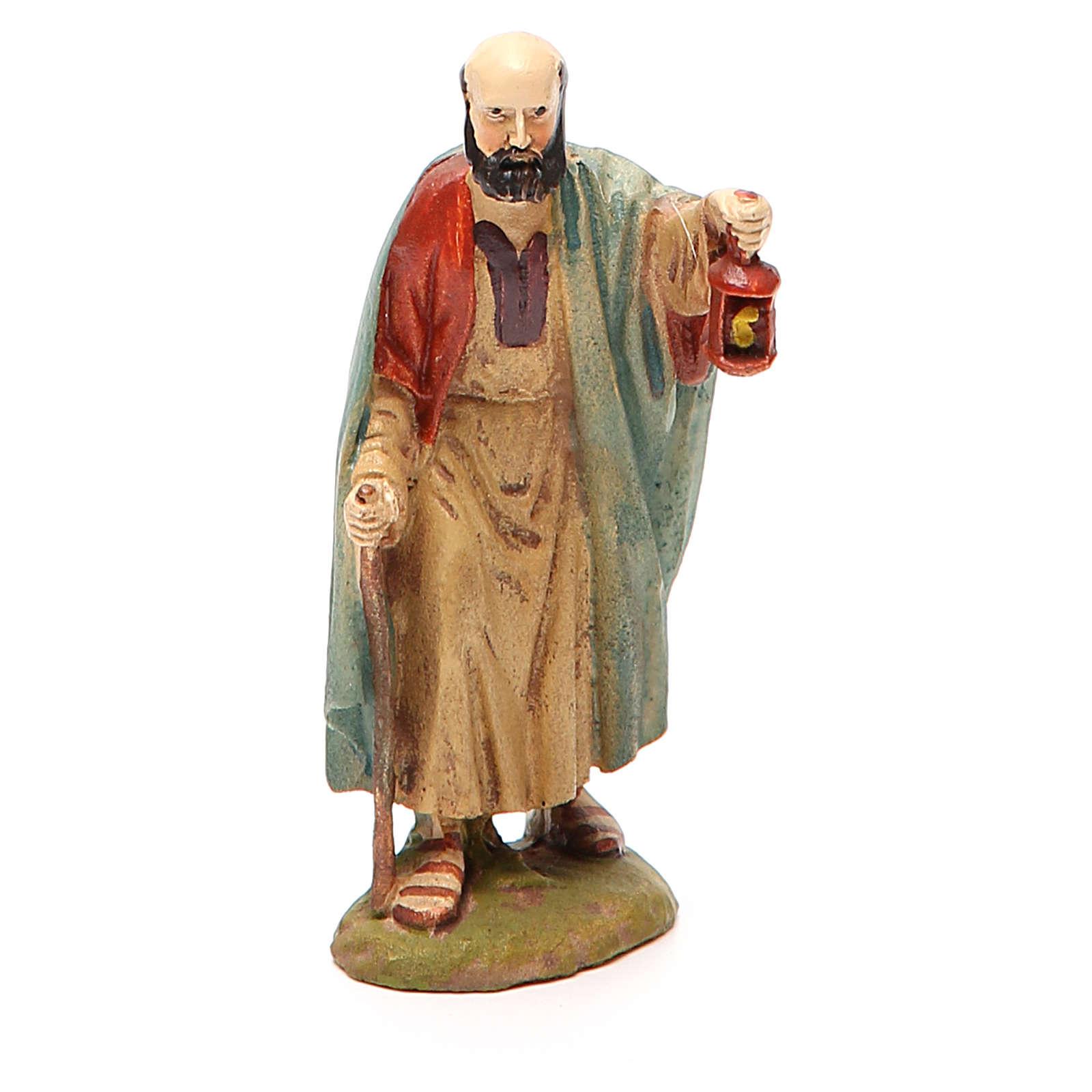 Berger avec lanterne résine peinte pour crèche 10 cm gamme M. Landi 3