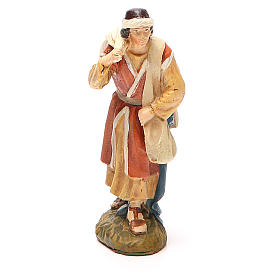 Nativity Scene figurines: Wayfaring shepherd in painted resin 10cm Landi Collection