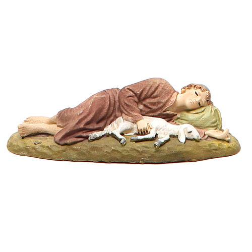Berger endormi résine peinte pour crèche 10 cm gamme M. Landi 1