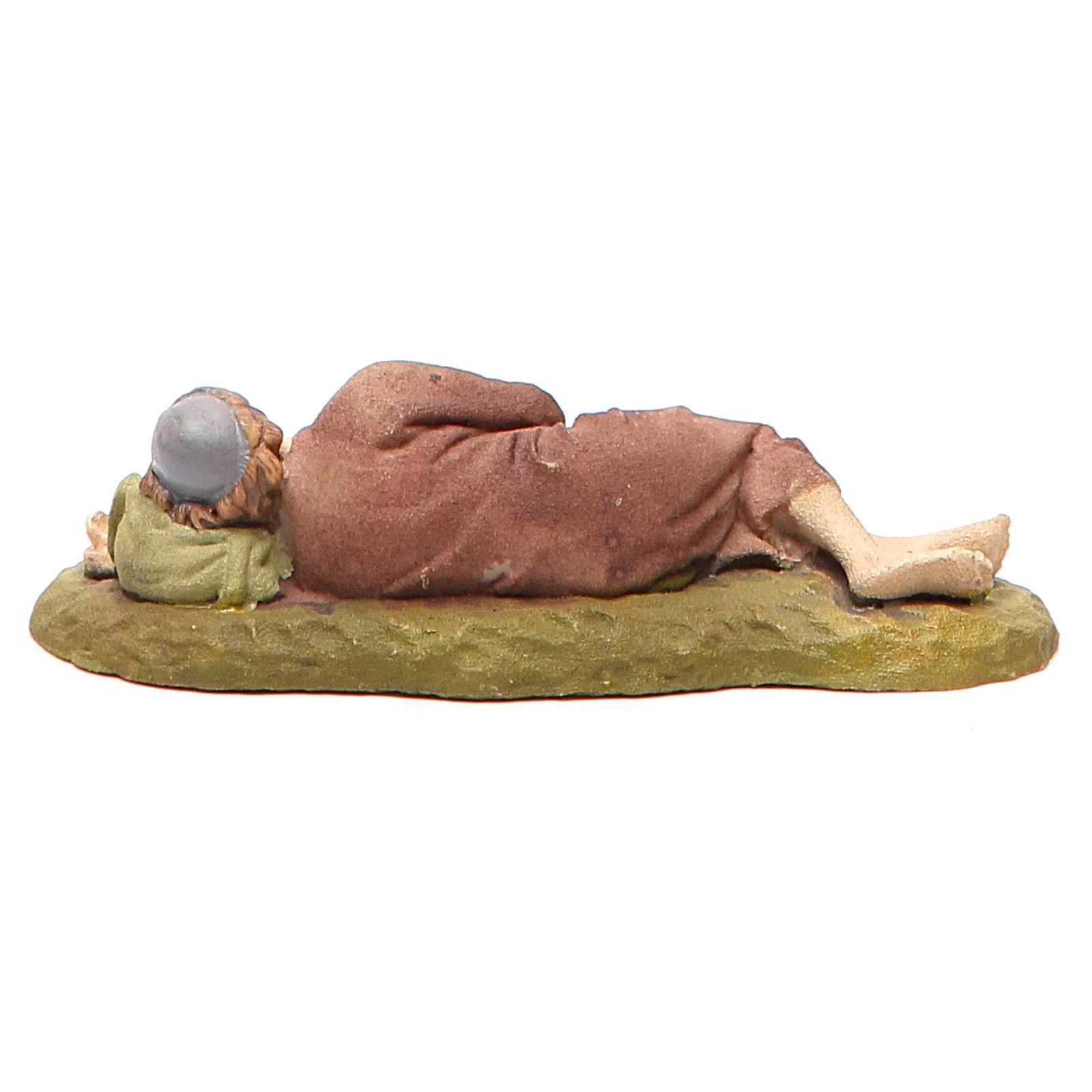 Pastor adormecido resina pintada 10 cm Linha Landi 3