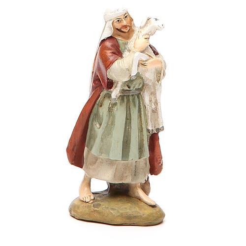 Berger avec mouton résine peinte 10 cm gamme M. Landi 1