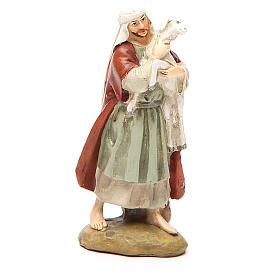 Statue per presepi: Pastore con pecora resina dipinta cm 10 Linea Martino Landi