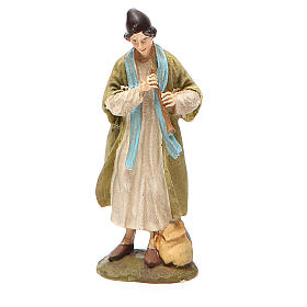 Figuras del Belén: Pastor con flauta resina pintada 10 cm Linea barata Landi