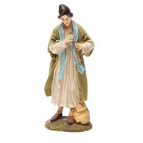 Statue per presepi: Pastore con piffero resina dipinta cm 10 Linea economica Landi