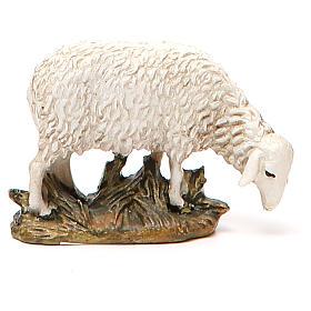 Mouton tête baissée résine peinte pour crèche 10 cm gamme M. Landi s1