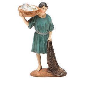 Santons crèche: Pêcheur avec filet et panier résine peinte 10 cm gamme M. Landi