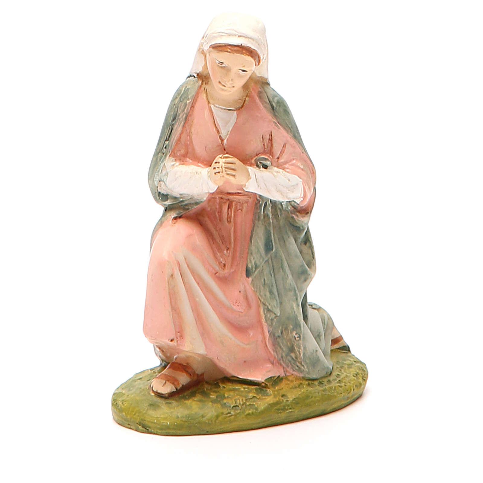 Sainte Vierge en résine peinte pour crèche 10 cm gamme M. Landi 3