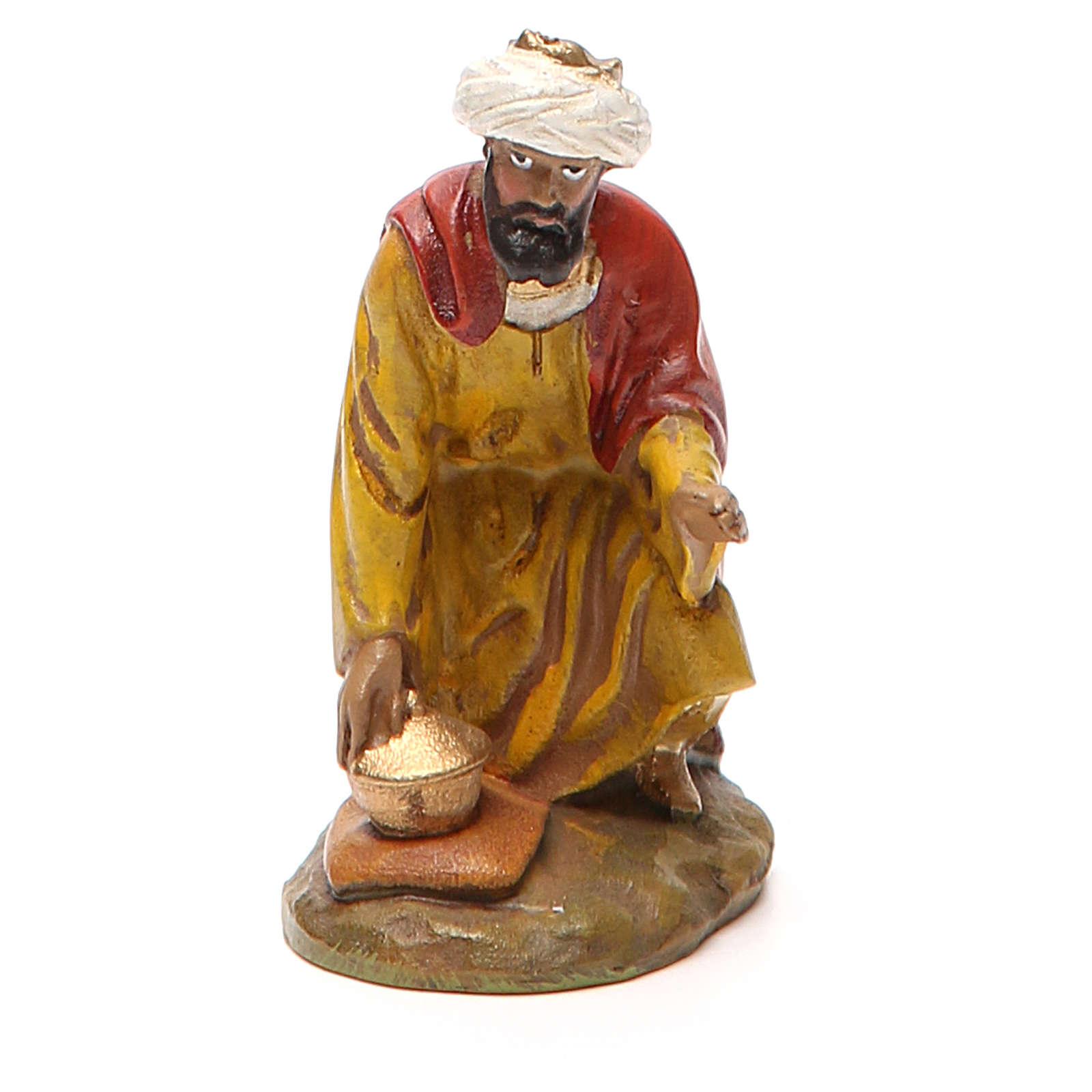 Rey mago Gaspare resina pintada 10 cm Linea Landi 3