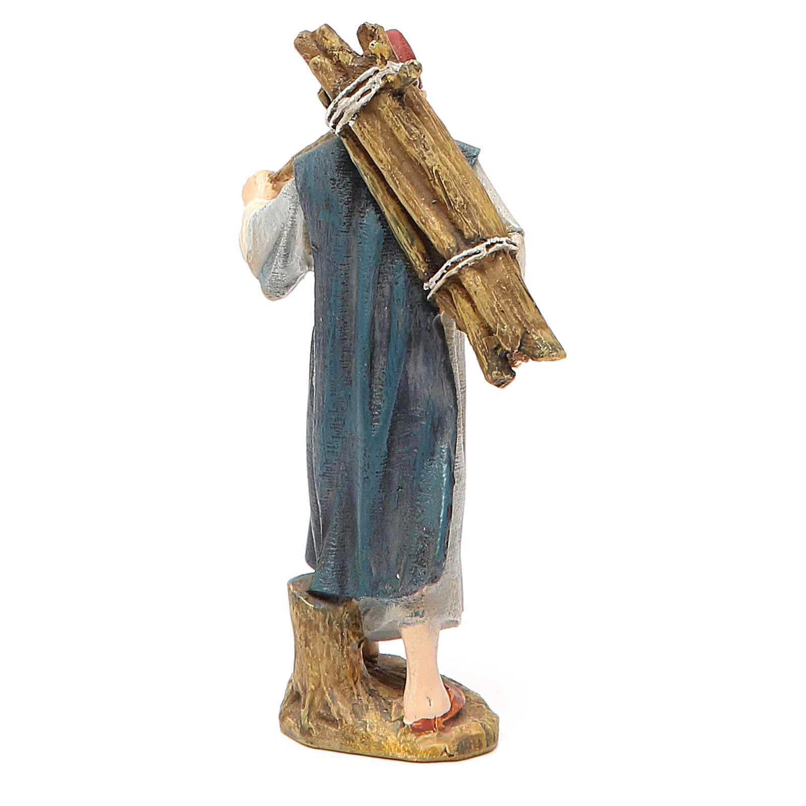 Pastore con legna resina dipinta cm 10 Linea economica Landi 3