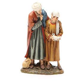 Santons crèche: Homme et enfant avec colombe résine peinte 10 cm gamme Landi