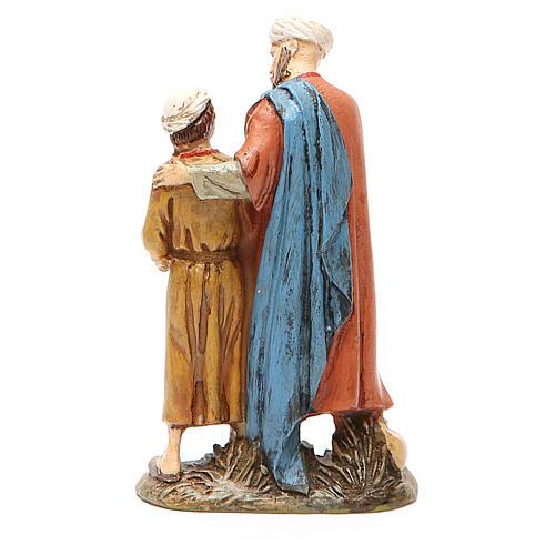 Homme et enfant avec colombe résine peinte 10 cm gamme Landi
