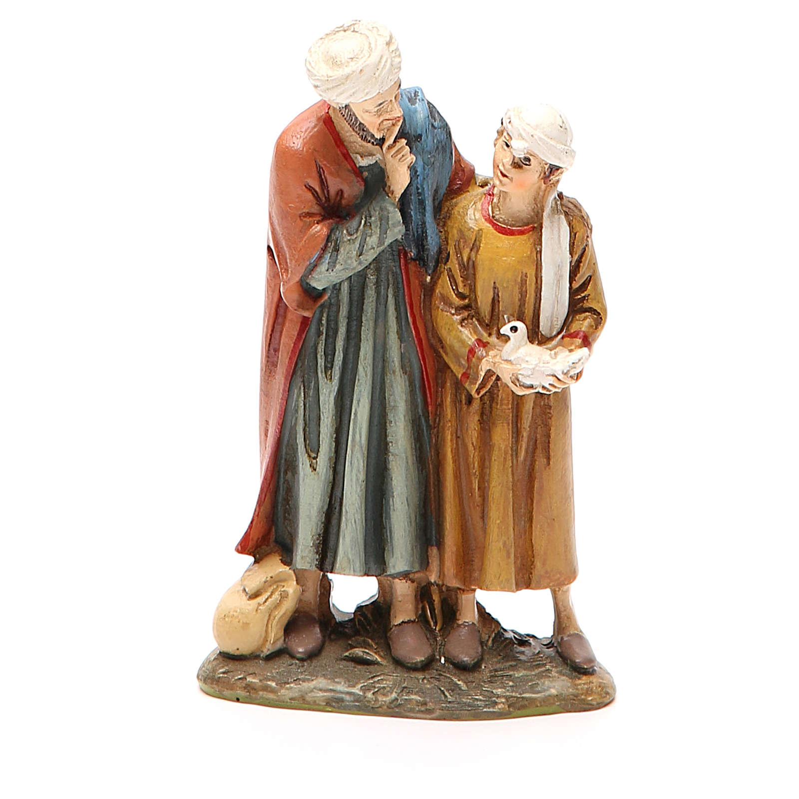 Uomo e bambino con colomba resina dipinta cm 10 Linea Landi 3
