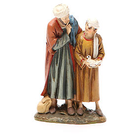 Uomo e bambino con colomba resina dipinta cm 10 Linea Landi s1