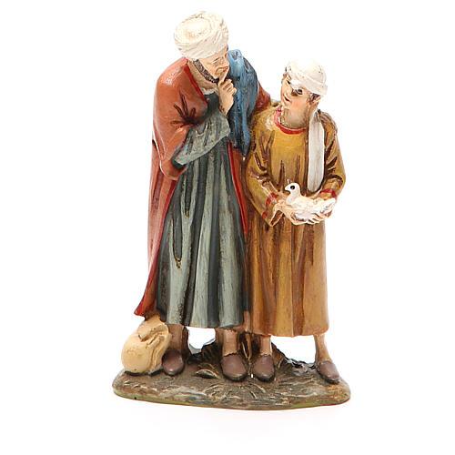 Uomo e bambino con colomba resina dipinta cm 10 Linea Landi 1