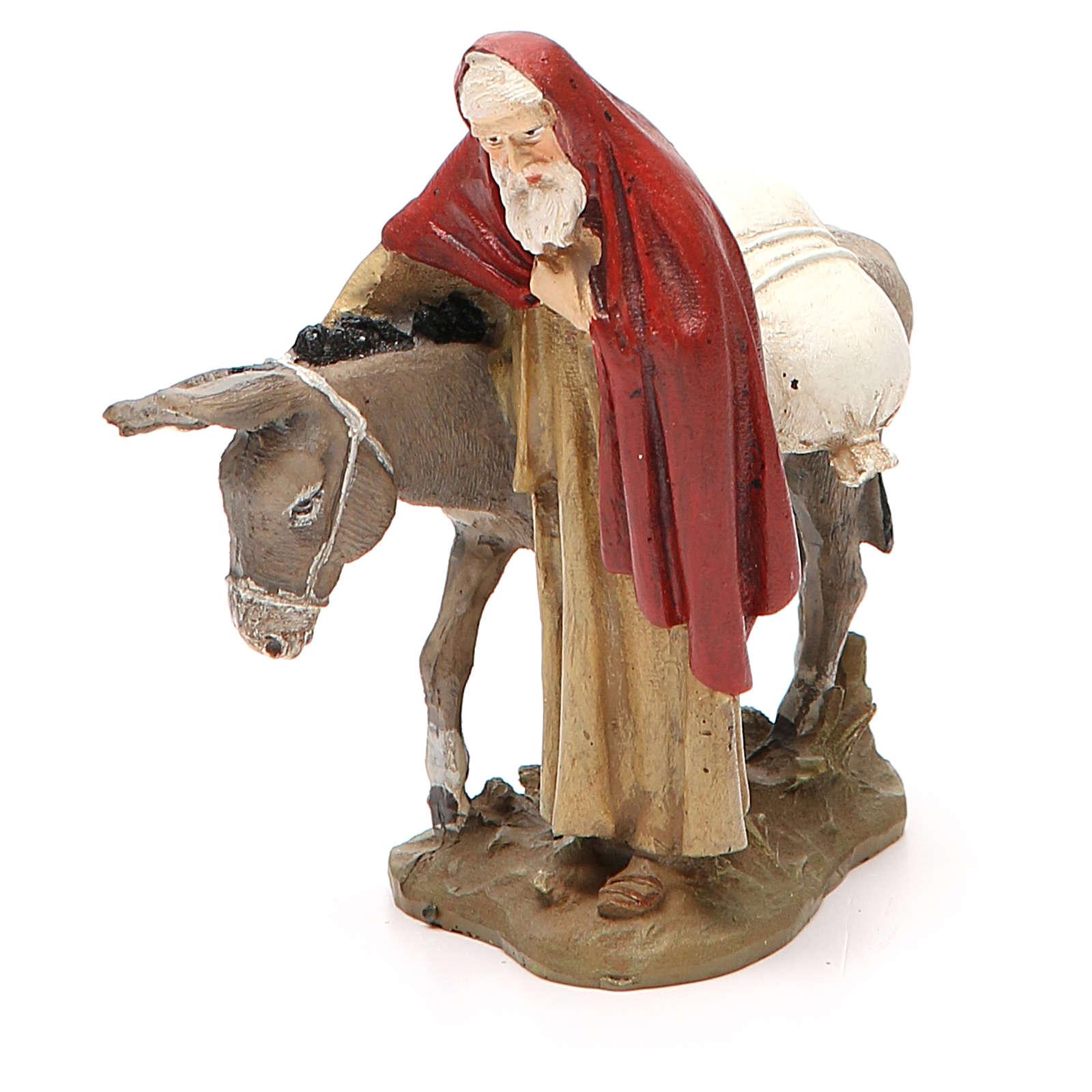 Nativity scene statue wayfarer with donkey in painted resin 10 cm low cost Landi brand 3