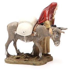 Nativity scene statue wayfarer with donkey in painted resin 10 cm low cost Landi brand s2