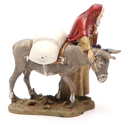 Nativity scene statue wayfarer with donkey in painted resin 10 cm low cost Landi brand 2