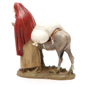 Nativity scene statue wayfarer with donkey in painted resin 10 cm low cost Landi brand s3
