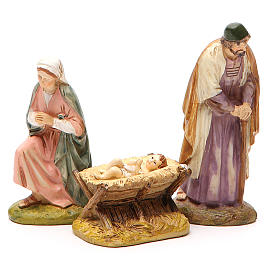 Nativity with ox and donkey in painted resin 10cm Martino Landi Collection s2