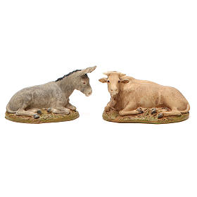 Nativity with ox and donkey in painted resin 10cm Martino Landi Collection s3