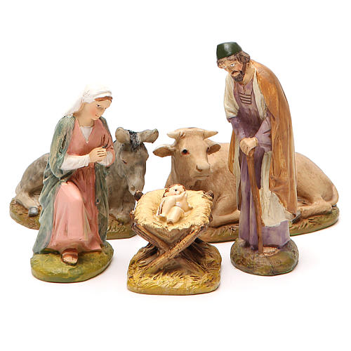 Nativity with ox and donkey in painted resin 10cm Martino Landi Collection 1