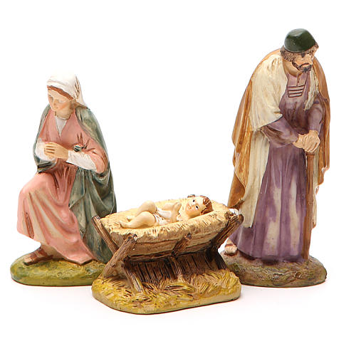 Nativity with ox and donkey in painted resin 10cm Martino Landi Collection 2