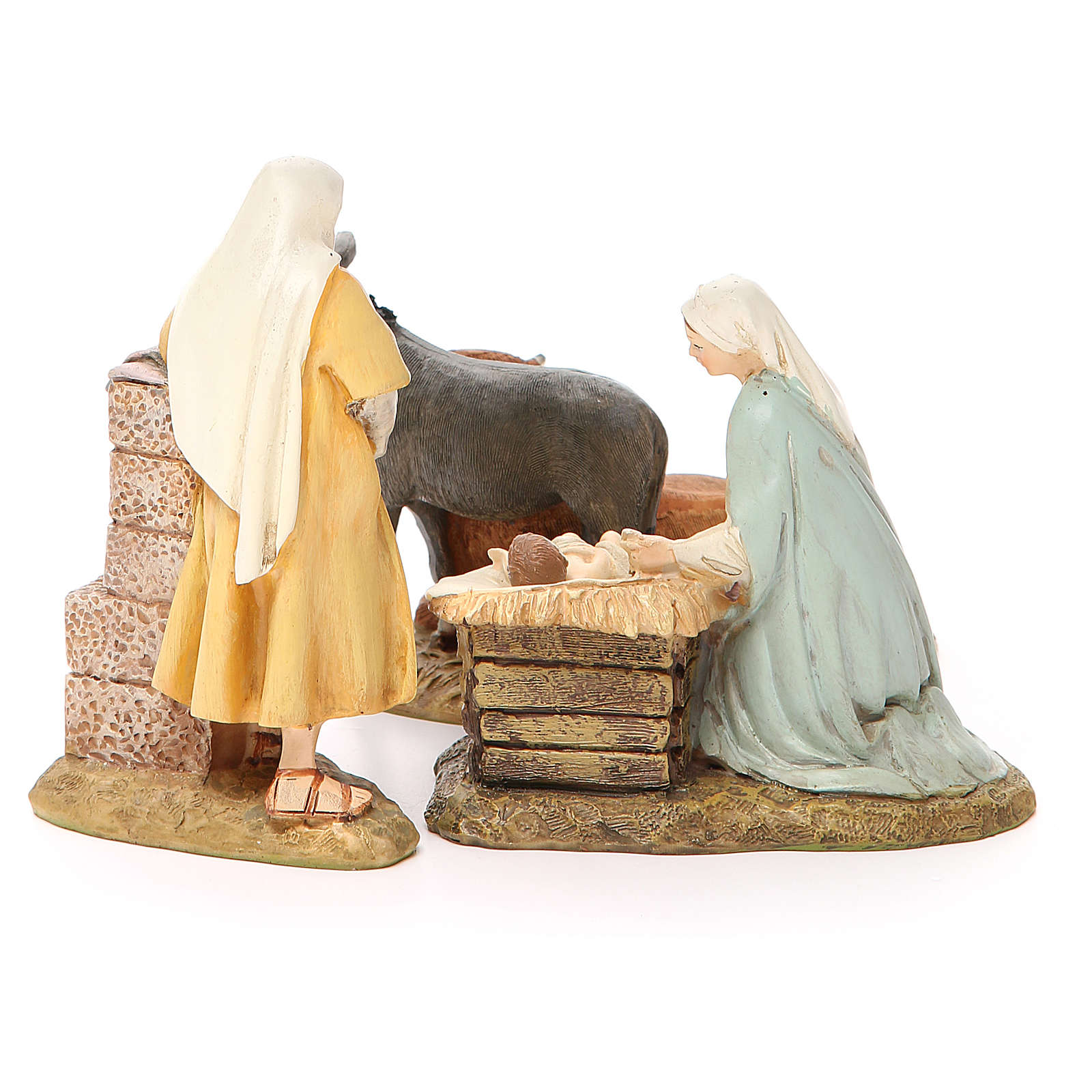 Nativity scene statue wayfarer with donkey in painted resin 10 cm low cost Landi brand 3