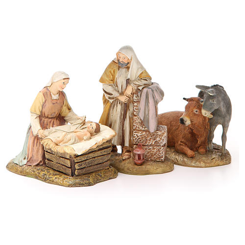 Nativity scene statue wayfarer with donkey in painted resin 10 cm low cost Landi brand 1