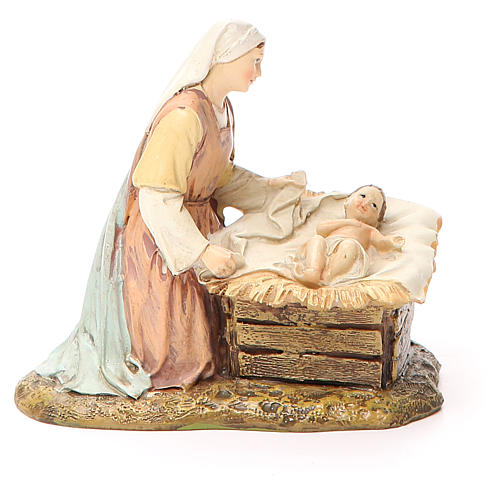 Nativity scene statue wayfarer with donkey in painted resin 10 cm low cost Landi brand 2