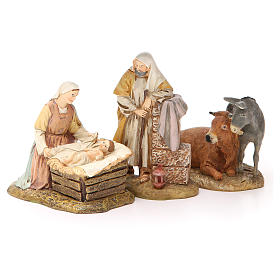 Natividade boi e burro resina pintada 12 cm Linha Martino Landi s1