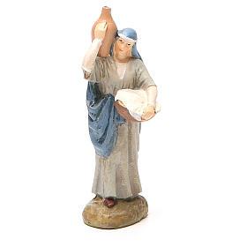 Figuras de Presépio: Pastorinha com jarra resina pintada 10 cm Linha barata Landi