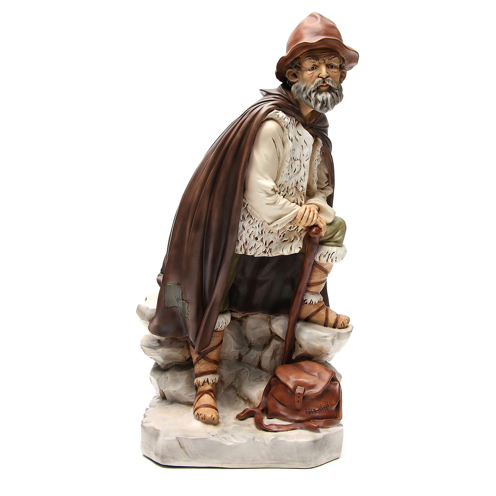 Statua pastore con bisaccia per presepe 65 cm 3