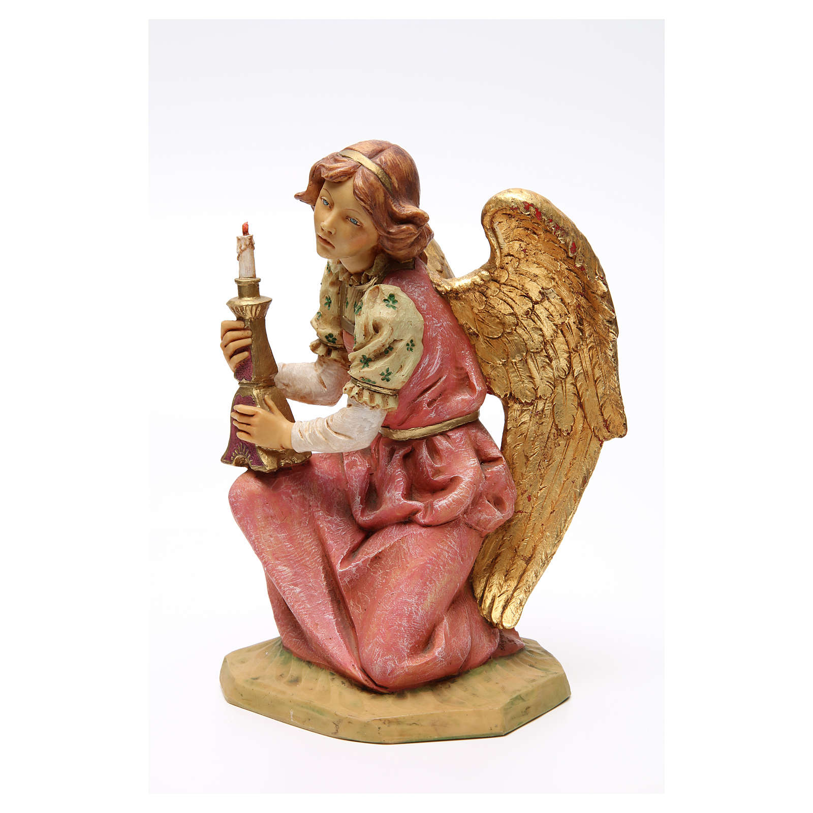 STOCK Angelo in ginocchio 52 cm rosa presepe Fontanini 3