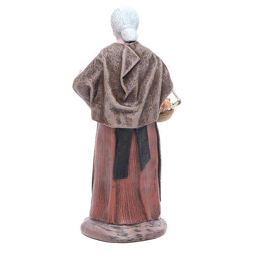 Figura belén terracota anciana señora con cesta 17 cm 3