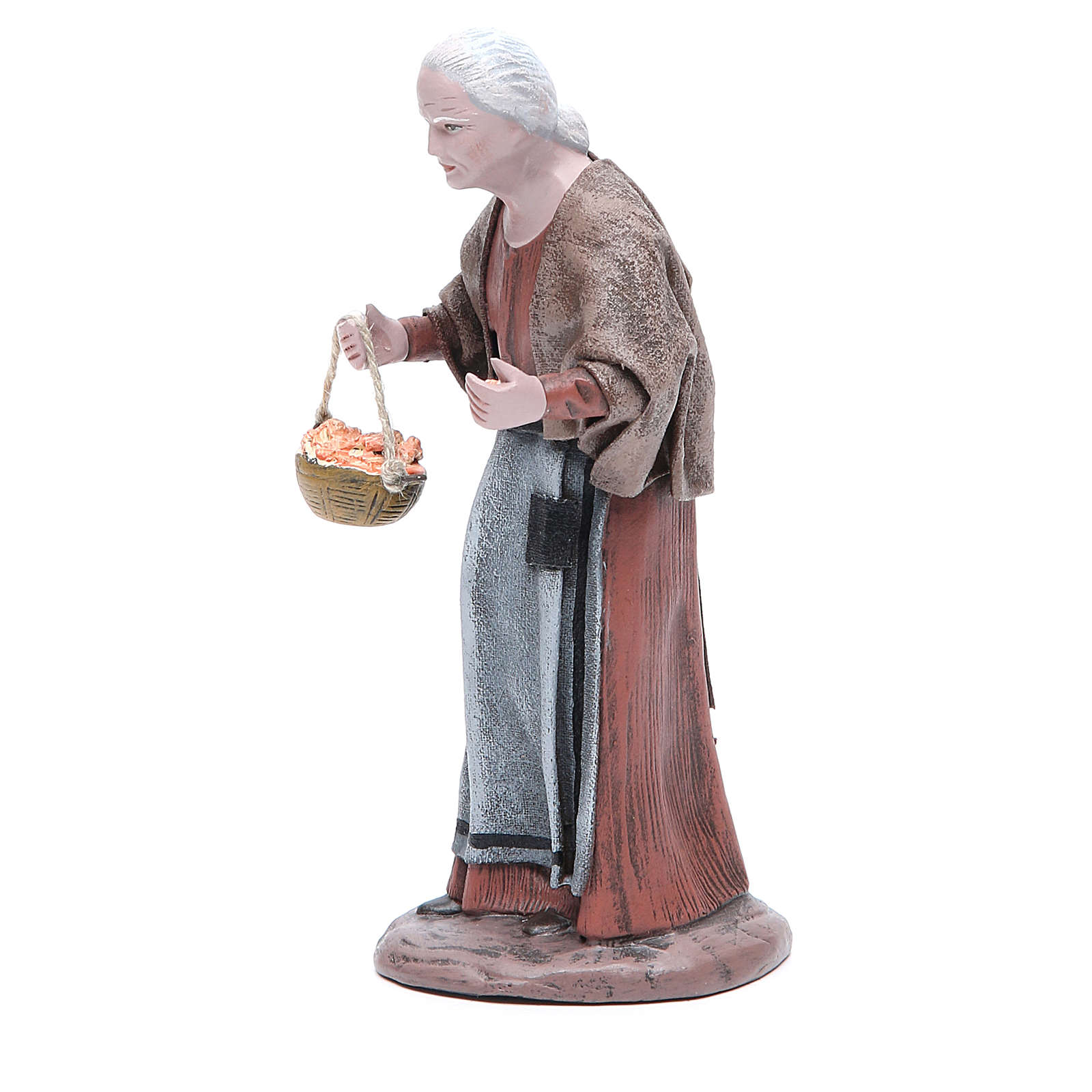 Statua presepe terracotta anziana con cesta 17 cm 3