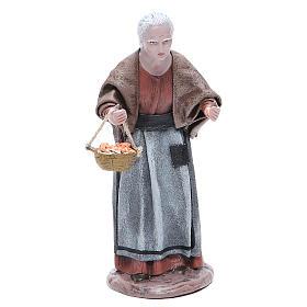 Statua presepe terracotta anziana con cesta 17 cm s1