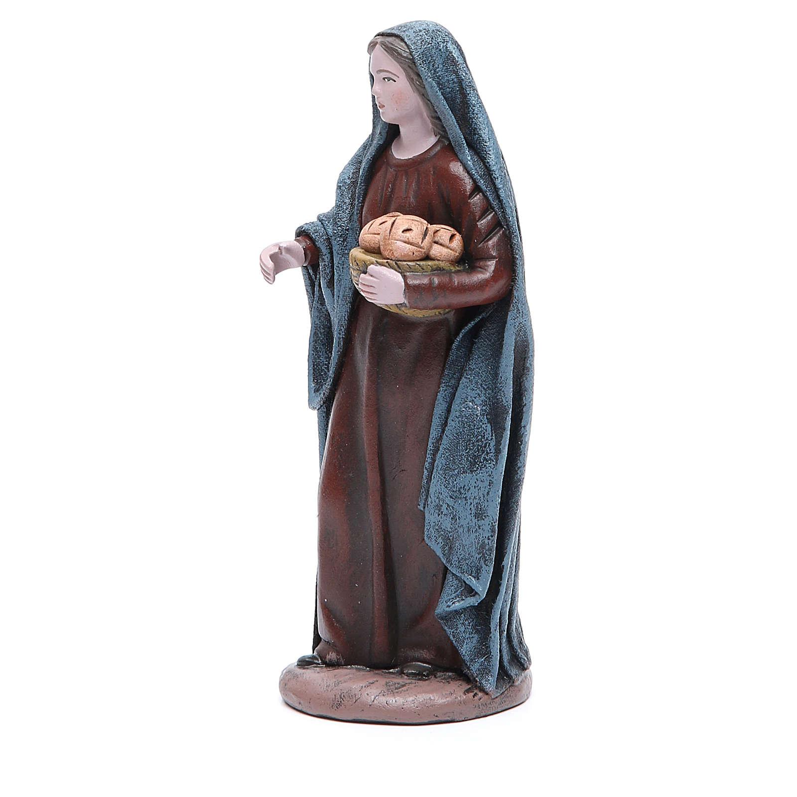 Femme avec panier de pain 17 cm santon terre cuite 3