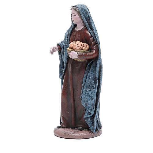 Femme avec panier de pain 17 cm santon terre cuite 2