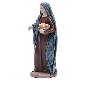 Donna con cesta di pane 17 cm Statua terracotta s2