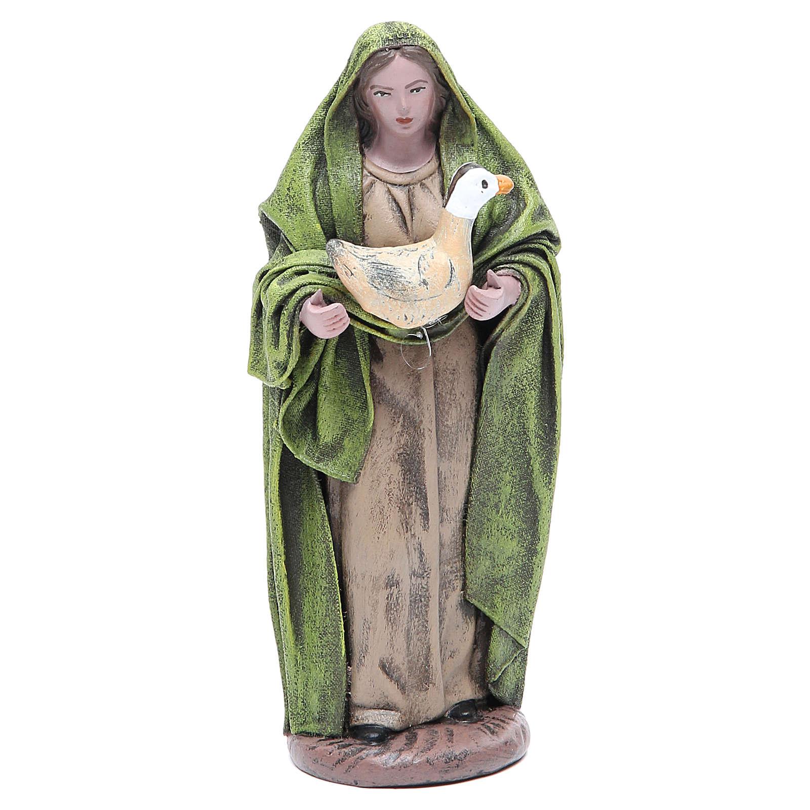 Statue crèche femme avec oie 17 cm terre cuite 3