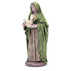 Statue crèche femme avec oie 17 cm terre cuite s2