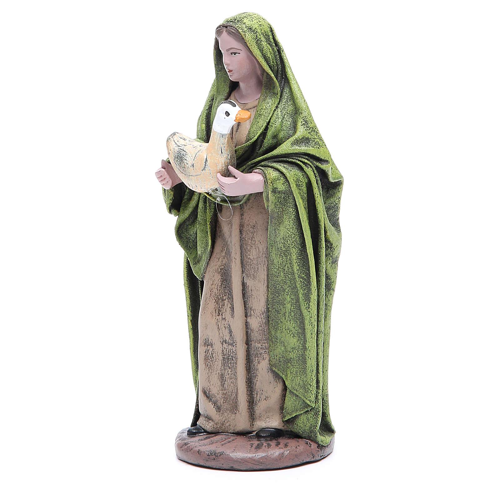 Statua presepe Donna con oca 17 cm terracotta 3